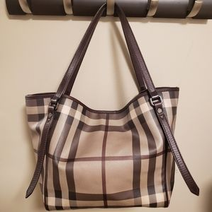 Burberry Smoked Check Canterbury Tote w/ Pouch